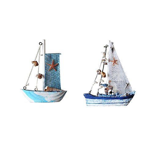 Baoblaze 2er-Set Mini Holz Segelschiff Miniatur Puppenhaus Segelboot Modellschiff