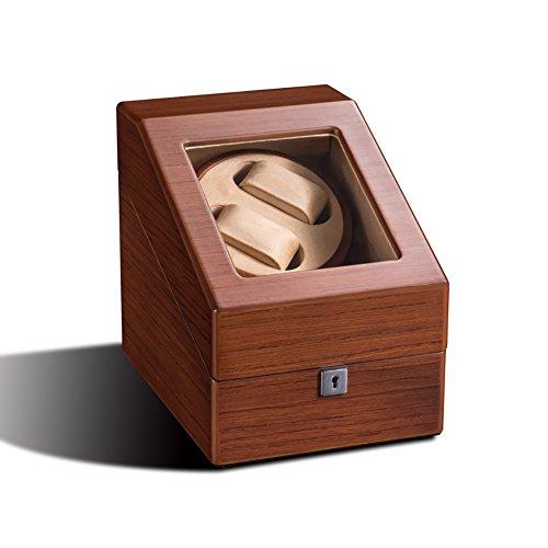 -M&Q- Watch Winder Carica Orologi Automatici Box 2+3 per 2 Orologi con 3 Storage Statico Tabella, 5 Programmi di Rotazione, Vetrina Trasparente, Motore Silenziososo, Brown