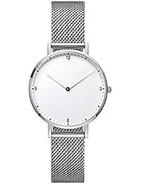 2d31ec1e00b6 Dyfzxy Reloj Deportivo para Mujer Reloj Casual Moda Simple Lujo Reloj de  Cuarzo Correa de Malla metálica Impermeable Dial Blanco…