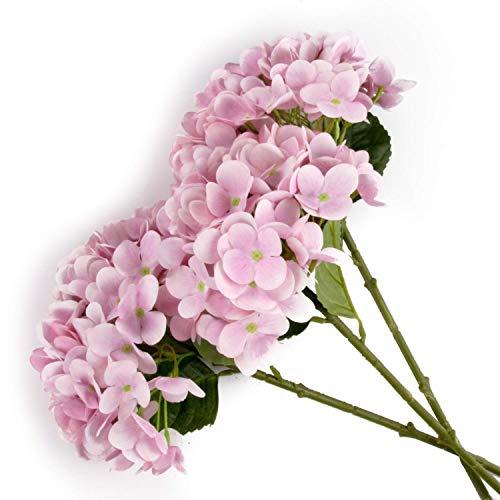 T4U Künstliche Hortensien Kunstblumen Strauß Rosa 3er-Set für Wohnung Hochzeit Hotel Restaurant Deko Rosa Strauß