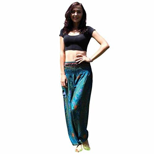 Damen Yogahosen Mumuj Herren Pilates Pump Haremshose Thai Haremshosen Boho Festival Hippy Kittel Hohe Taille Yoga Hose Loser Druck Pluderhose Strumpfhose (Grün, Freie Größe) (Druck-strumpfhosen)