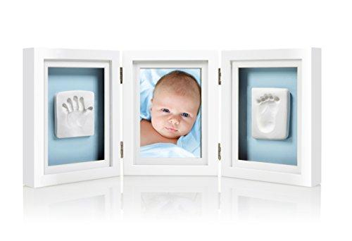 Pearhead 21513 Deluxe Desktop Frame triple, drei teiliger Bilderrahmen zum Aufstellen für ein Foto, Hand und Fußabdruck, weiß - Tisch Frame