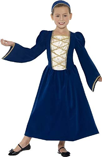Kostüm Childs Tudor - Girls Child's Blue Rich Tudor Princess Historical Book Day Week Fancy Dress Costume Outfit 4-12 years (7-9 years)