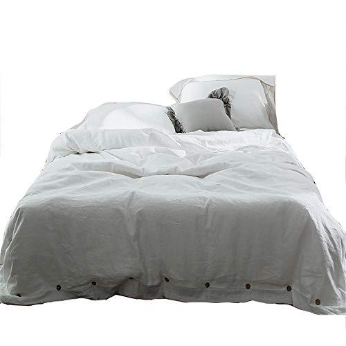 JASONN Bettwäsche aus Baumwolle, Bettbezug, Sommerwäsche Bettbezug Kissenbezug Bettwäsche vierteilig,White,1.5/1.8mbed