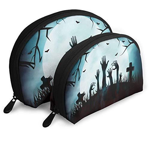 Kosmetiktasche Happy Halloween Zombie Cemetery Toiletry Make Up Bag Bathroom Organizer Travel Case 2 Piece Set