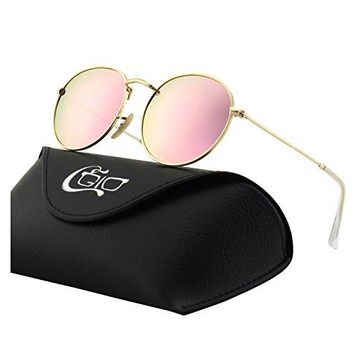 CGID Retro Vintage Sonnenbrille, inspiriert von John Lennon, polarisiert mit rundem Metallrahmen, für Frauen und Männer E01, A Gold Rosa, L