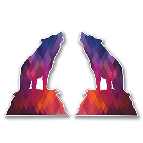 Preisvergleich Produktbild 2x heulender Husky Wolf Vinyl Aufkleber Aufkleber Laptop Reise Gepäck Auto Ipad Schild Fun # 6367 - 15cm/150mm Wide