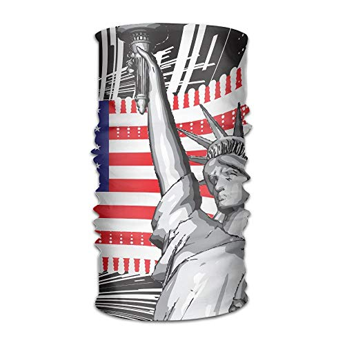Statue of Liberty of America Multifunction Bandana Headband Athletic Headwear Sweatband,Magic Scarf,Neck Balaclava,Helmet Liner,Tube Mask,UV Resistence Outdoor Sport Yoga 9.8X19.7inches,25X50cm