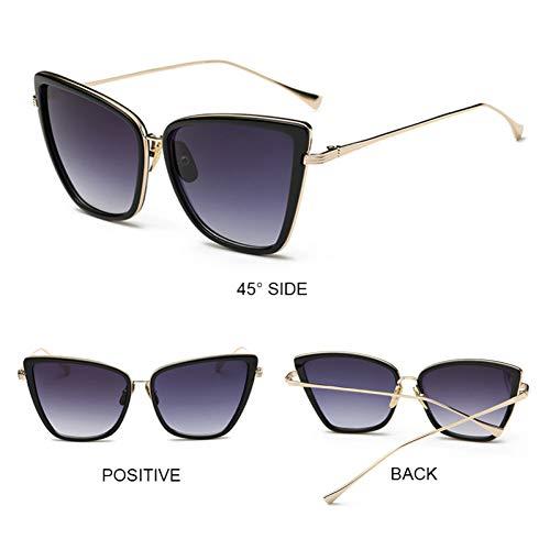 TTPLOMJ Sonnenbrillen Retro Big Cat Eye Sonnenbrille Frauen Schwarz Spiegel SonnenbrilleModedesigner Hochwertige Vintage Sonnenbrille