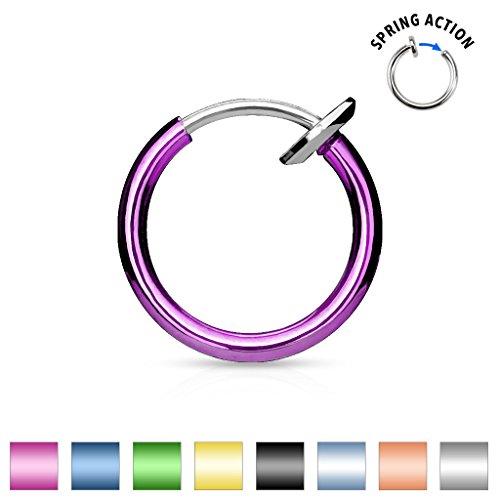 PiercedOff Faux piercing nez septum (disponible en 8 couleurs) Noir