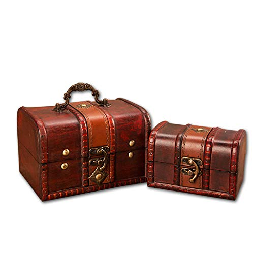 LCLrute 2019 Stilvolle Vintage Metall Lock Dekorative Schmuckstück Schmuck Lagerung Box Handgemachte Klassische Holz Schatz Fall lagerung Box Organizer (A) -