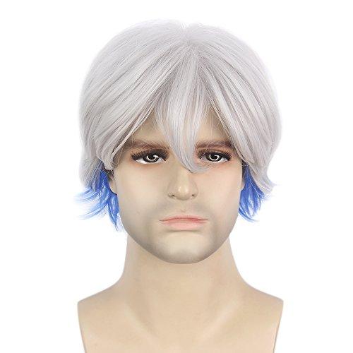 STfantasy Cosplay Perücke Herren Grau + Blau kurze gerade Karnevalsperücke Anime Wig für Männer Alltag Halloween Karneval Party