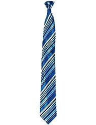 Mailando Herren Krawatte mit Streifen, blau- weiss