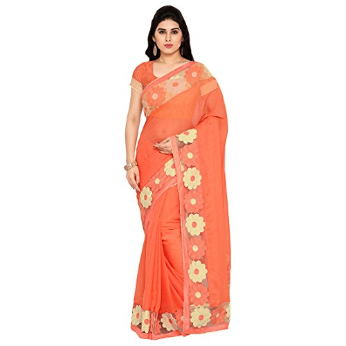 Styles closet women Orange Chiffon Aari Embroidered Saree