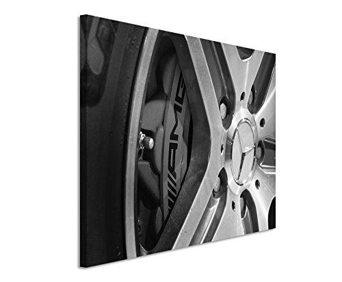 Preisvergleich Produktbild 50x70cm Wandbild Fotoleinwand Bild in Schwarz Weiss Autoreifen Mercedes G63 AMG