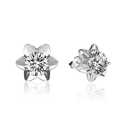 Aretes De Oro (Silberfarbenes 925Sterling Silber 6mm Zirkonia Full Bloom Blumen Ohrringe Schmuck)