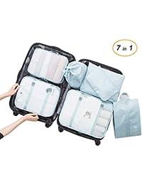 Overmont 7 en 1 set de bolsa organizador de maleta equipaje impermeable portable para almacenamiento de ropa zapato de viaje color celeste/rosa/azul marino
