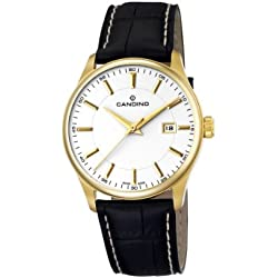 Candino Men's Quartz Watch with White Dial Analogue Display and Black Leather Strap C4457/2