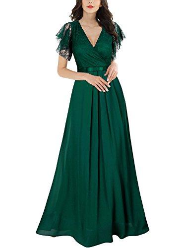 Miusol Damen Aermellos V-Ausschnitt Spitzenkleid Brautjungfer Cocktailkleid Chiffon Faltenrock Langes Kleid Grün L