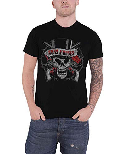 Guns N Roses T Shirt Distressed Skull Band Logo Nue offiziell Herren -