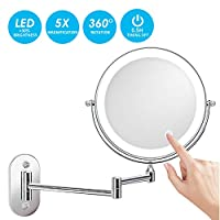 alvorog Wall Mount LED Lighted Makeup Mirror with 5X Magnification, Upgrade Auto Off LED Bathroom Mirror, 360°Swivel and Extendable, Powered by 4 x AAA Batteries (Not Included) (Chrome)