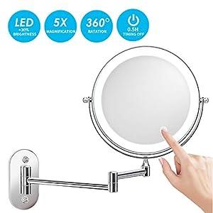 alvorog Kosmetikspiegel LED Beleuchtet mit 1x/5x Fache Vergrößerung Touchscreen Batterie Schminkspiegel Rasierspiegel 360°Schwenkbar Faltbar Wandmontage für Badezimmer