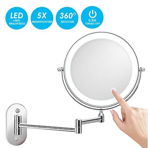 alvorog Kosmetikspiegel LED Beleuchtet mit 1x/5x Fache Vergrößerung Touchscreen Batterie Schminkspiegel Rasierspiegel 360°Schwenkbar Faltbar Wandmontage für Badezimmer -