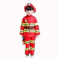 Proumhang Fireman Uniform Childs Outfit Fireman Fancy Dress Fire Fighter Dress Up Costume Set