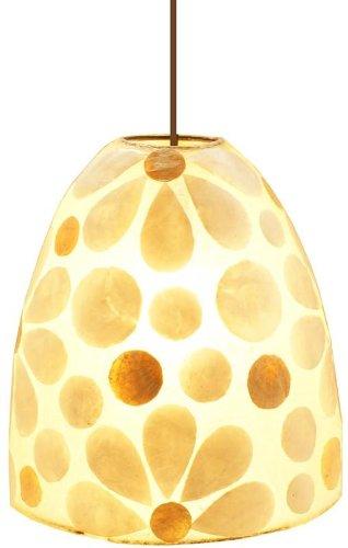 Deckenlampe aus Fiberglas mit Perlmutt-Blüten, Ø 22 cm, H. 25 cm (Vanille Blüte)