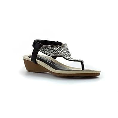 Truffle Sandale im Schwarzen mit Block-Fersen und im Bogen für Frauen durch Größe 7 UK/40.5 EU - Schwarz XZ4s5fxhe