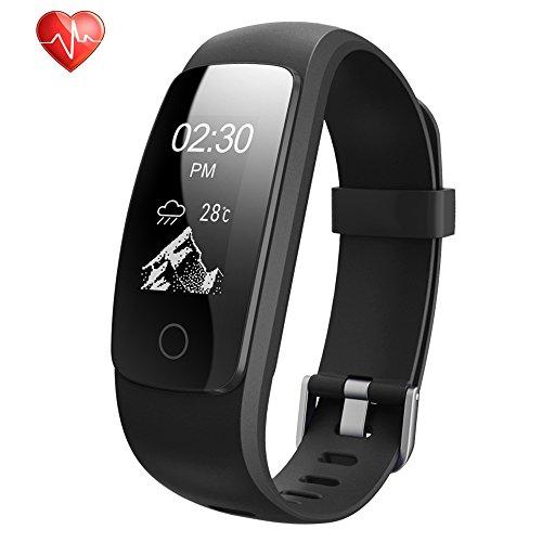 Fitness Armbänder, Semaco Fitness Tracker mit Pulsmesser, Fitness Aktivitätstracker Schrittzähler, Schlaf-Monitor,/ Kalorienzähler, Anrufen / SMS, GPS-Routenverfolgung für Android iOS Smartphone (schwarz)