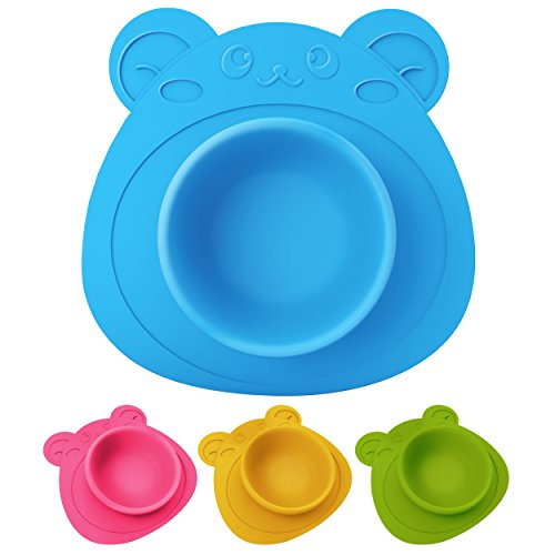 Schale für Babys und Kinder, Teller rutschfest und umkippsicher, Teddybär blau