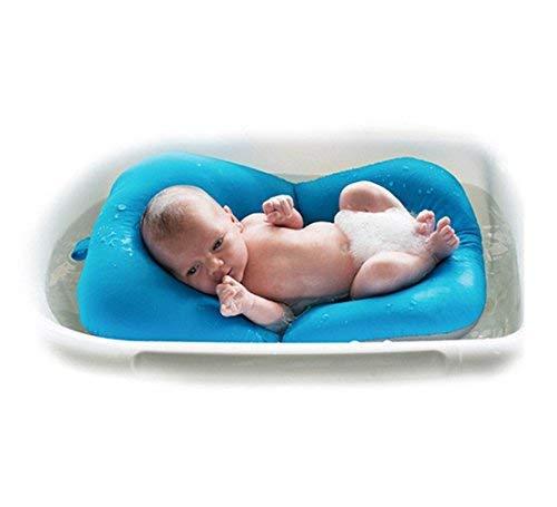 Baby Pad bagno tappetino, 4EVERHOPE galleggiante morbido neonato cuscino bagno/lettini neonato vasca cuscino d'aria (Blu)