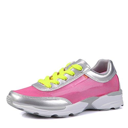 Sommer Atmungsaktive Damen Leichtgewicht Kühle Mesh Spitze Weiche Zehen Schnürsenkel Dicke Sohle Sport Turnschuhe Sneakers Rot
