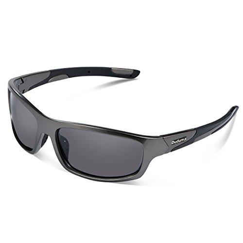 Duduma Polarisierter Sport Sonnenbrille für Baseball Skifahren Golf Laufen Radsport Angeln Reiten Fahren mit Unzerbrechlich Rahmen Du645 (Silbergrau Rahmen mit Schwarz Linse)