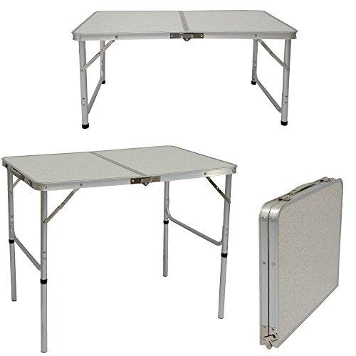 AMANKA Table de Camping Portable 3kg Pliante en mallette pour pique-nique plage jardin 90x60cm réglable en hauteur en aluminium Gris