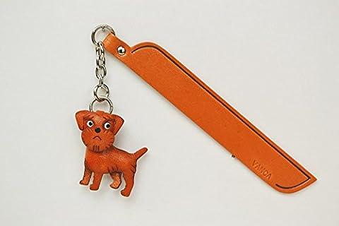 Border terrier Leather dog Charm Bookmarker VANCA Handmade in Japan …