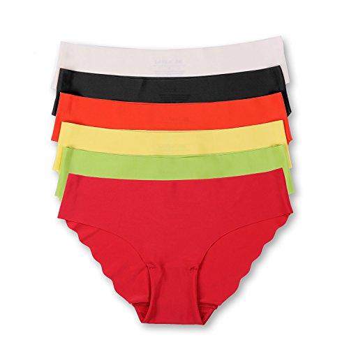 DOBREVA Damen 6er Pack Komfort Slip - Tailored No Show Low Rise Bikini Hipster 6er Pack #3 XS Komfort Slip