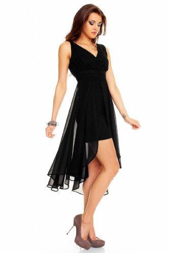 Robe de cocktail pour femme en chiffon courte à l'avant à l'arrière) Noir - Noir