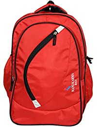 Manukarma Stylish Good Quality 30L Water Resistant Red Polyester ,Laptop & Casual Backpack Integrated With Rain...