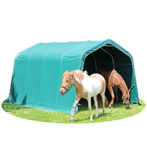 TOOLPORT Weidezelt Offenstall 3,3 x 4,8 m Weideunterstand Pferde Unterstand Stall PVC NEU in grün