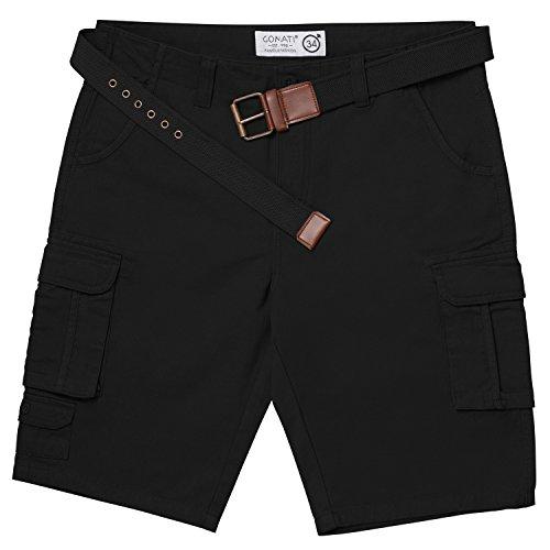 Herren Twill Cargo (Gomati Original Urban Twill Herren Cargo Bermuda Short inkl. Gürtel-W32-Black)
