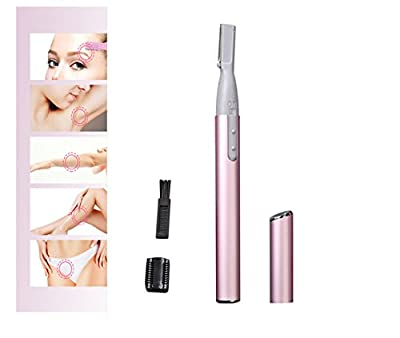 Electric Eyebrow Trimmer Eyebrow Shaver Shaper Underarm Leg Body Hair Remover Bikini Line Facial Precision Razor Pen-shaped Portable with Brush, Eyebrow Comb Set Mini for Ladies by Hmjunboys (Pink)