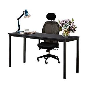 sogesfurniture Schreibtisch großer Computertisch 138x55cm PC Tisch Konferenztisch Bürotisch Arbeitstisch aus Holz und Stahl, einfache Montage,138x55x75cm, Schwarz AC3B-140-SF