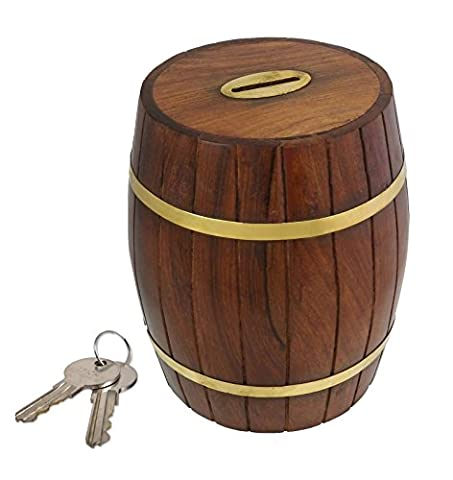 Barrel Shape Hand Made Solid Wooden Money Saving Box Lockable with Keys
