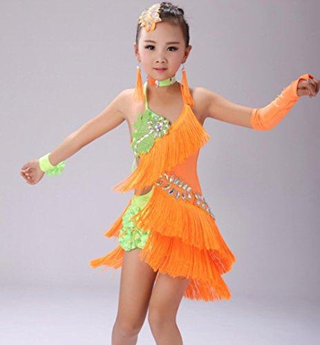 Tanz Röcke Frauen Spiel Kostüm Kinder Latin Dance Kleid Rock Wettbewerb 7 Farben , 2 , 140cm (Stich Mädchen Kostüm)