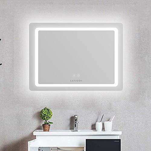 LUVODI Espejo de Baño con Iluminación LED Espejo de Pared con Interruptor Táctil 3 Modos Ajustables Función Anti-Niebla Ideal para Baño Dormitorio Maquillaje 60×80cm
