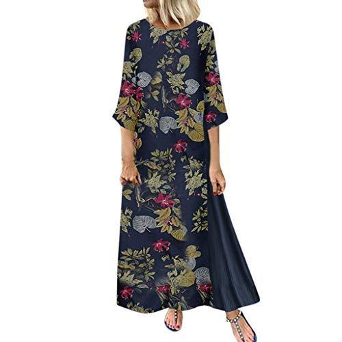Fuibo Frauen Vintage Print Floral Patch Kleid 3/4 Ärmel Oansatz lose Maxi Kleid Damen Kleider Casual Loose Rundhals Strandkleider Farblock Boho Maxikleider (3XL, Navy) -