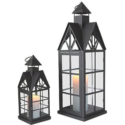 2tlg. Set Laterne Windlicht Metalllaterne Gartenlaterne Gartenlampe Gartenleuchte Kerzenhalter Metall / Glas - Schwarz von Multistore 2002 bei Lampenhans.de