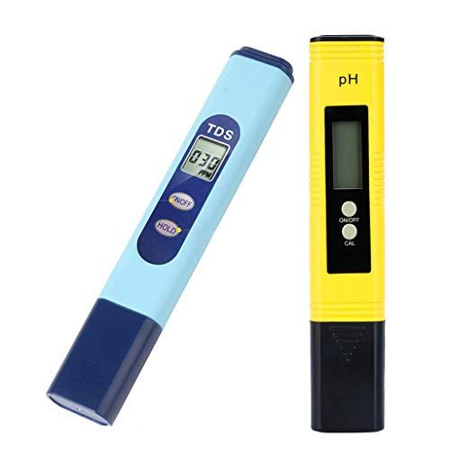 Profi Wasserqualitätstester TDS PH 2 in 1 Set, Wassertestgerät für Ph und Chlor, Tragbarer PH Messgerät Water Test Meter, Ideal Wasser Tester für Pool Teich Trinkwasser Aquarien Schwimmbad by Hukz -